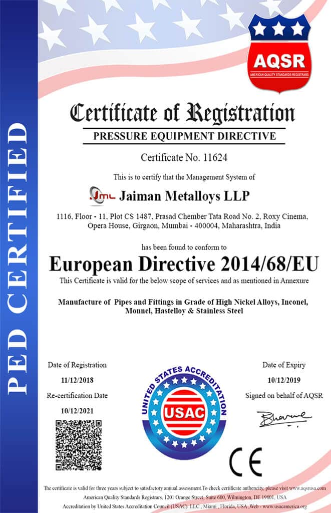 PED Certified Company